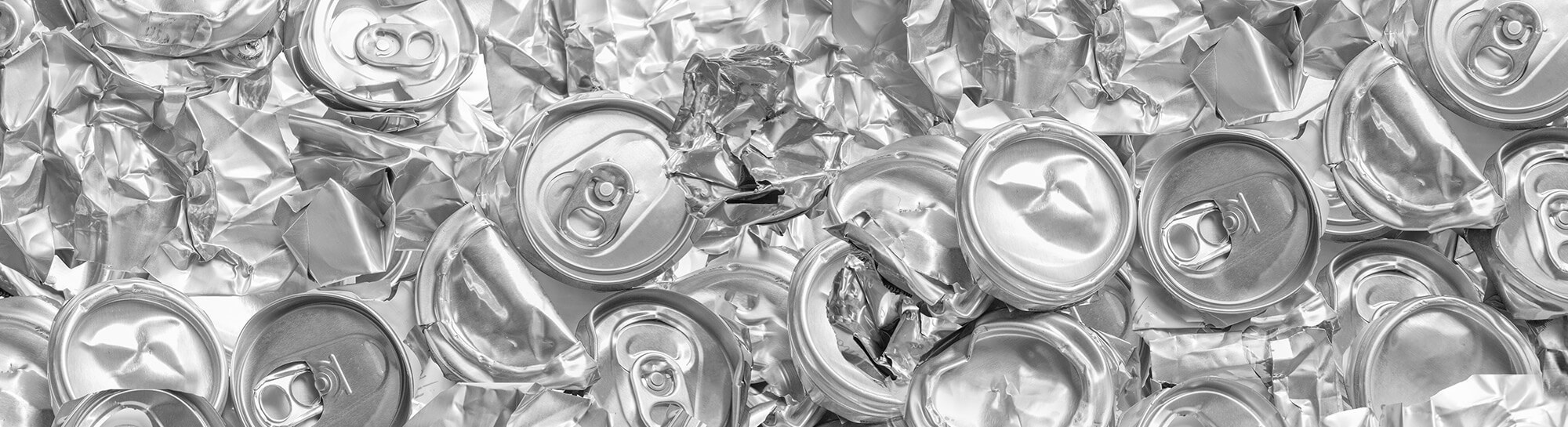 Pile of crushed aluminum soda cans